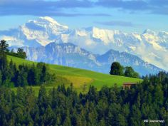 Emmental, Prealps and high Alps with the Jungfrau (4158m, 13 642ft)
