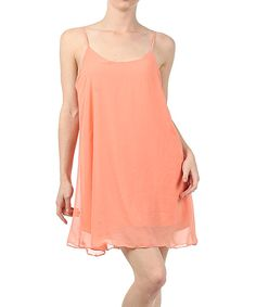 Look at this J-Mode USA Los Angeles Coral Bow-Back Shift Dress - Women on #zulily today!