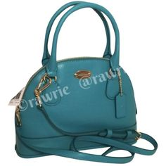 Pre-owned Coach Nwt Mini Cora Domed Crossgrain Leather Turquoise Blue... ($129) ❤ liked on Polyvore featuring bags, handbags, shoulder bags, none, leather handbags, leather purse, blue shoulder bag, mini shoulder bag y turquoise purse