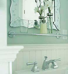 Design Inc. Caroline's Bathroom  Paint Palette: Glidden: Walls - steeplechase 70GY72/025;  Trim - natural white 50YY83/029