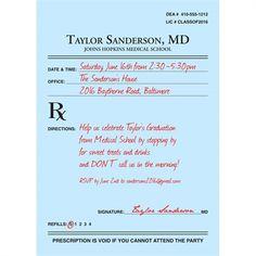 Nursing Graduation Prescription Pad Invitation