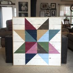 This might be my favorite one yet! The picture just doesn't do it justice! I'm loving the muted tones and gold I've incorporated. I'll be taking this one to Rosebud Antique Mall for sale soon! Barn Quilt Designs, Barn Quilt Patterns, Quilting Designs, Block Patterns, Quilting Ideas, Star Quilts, Quilt Blocks, Scrappy Quilts, Painted Barn Quilts
