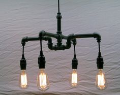 4-Bulb Industrial Chandelier: Black Malleable Iron