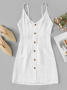 To find out about the Solid Button Front Strap Dress at SHEIN, part of our latest Dresses ready to shop online today! Cute Casual Outfits, Casual Dresses, Summer Outfits, Girl Outfits, Summer Dresses, Natural Clothing, Latest Fashion For Women, Ladies Fashion, Women's Fashion Dresses