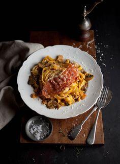 butternut tagliatelle + crispy bacon and mushrooms