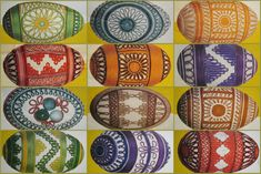 Slovak Easter eggs made with yarn.  these are creations of Božena Adamicová. Step-by-step instructions (in Slovak) are included.