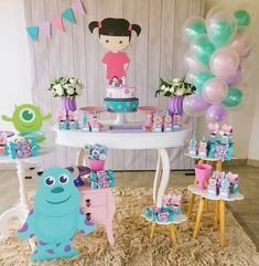 Monster University Birthday, Monster 1st Birthdays, Monster Inc Party, Monster Birthday Parties, Costume Birthday Parties, 2nd Birthday Party Themes, Birthday Balloons, First Birthday Parties, Birthday Decorations