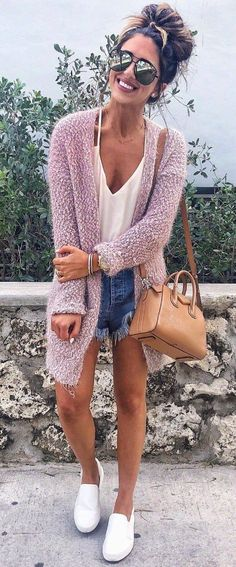 ootd cardigan top bag denim shorts sneakers
