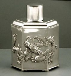 Chinese Export Silver Tea Caddy                             Was $3500  Now $2500 #LuenHing