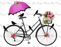 Spring Day Bicycle Ride -  Image Transfer Burlap Feed Sacks Canvas Pillows Tea Towels greeting cards umbrella - U Print JPG 300 dpi sh282. $1.25, via Etsy.