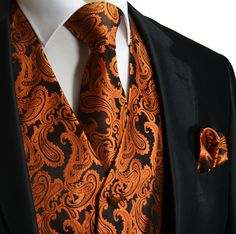 Rust Orange XS to Paisley Tuxedo Suit Dress Vest Waistcoat & Neck tie And Pocket Square Hankie Set wedding Prom Formal Party Orange Suit, Orange Vests, Rust Orange, Mens Tux, Mens Suit Vest, Mens Suits, Paisley, Waistcoat Men, Tuxedo Vest