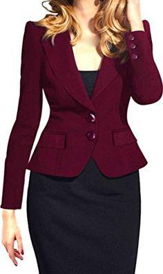 b9b3eb5af7f8 Oberora Womens Fashion Jacket Long-Sleeved Coat Slim Casual Blazer at Amazon  Women's Clothing store:
