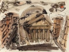 William Congdon (American, 1912-1998) Roma, 1948 Watercolor and ink on paper.