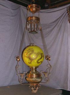 RARE Antique Miller Hanging Banquet Oil Lamp w Gold Gilded Dragon Globe | eBay