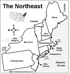 North East Region States And Capitals Northeast Region States - Blank map of the northeast region of the us