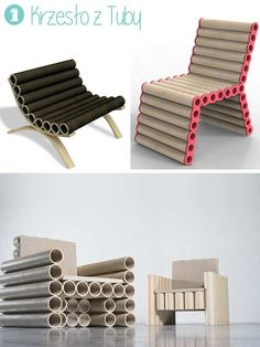 10 Ideas for a Cardboard Tube- 10 Ideas for a Cardboard Tube You can make simple chairs out of pile of tubes – a wooden, plastic or plywood frame will be necessary. Here chairs made by professional designers: … - Pallet Patio Furniture, Cardboard Furniture, Recycled Furniture, Furniture Projects, Wood Furniture, Furniture Design, Cardboard Chair, Cardboard Design, Cardboard Tube Crafts