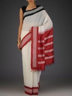 White-Red-Black Silk Cotton Handwoven Gadwal Saree