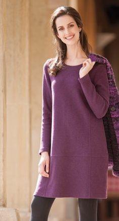 Naturmode - Kleid in Double Face aus Schurwolle / Bio Baumwolle, Jacke Bouclé Merino, Größen S bis XL - Finesse Fashion ©