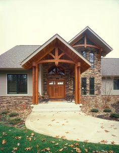 Timber frame home love the front entrance way if for Timber frame porch addition