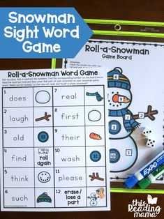Roll a Snowman Sight Word Game - EDITABLE! - This Reading Mama