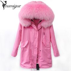 (160.81$)  Know more  - YOUMIGUE 2017 Winter New Women Army Green Parka Jacket Coats Thick Real Raccoon Fur Collar Hooded Fur Lining Long Version coat