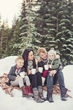 Winter family photos, couple, husband, wife, son, daughter, romantic, romance, hot chocolate, snow, scarf, boots, blanket, trees, sun, Christmas, holiday.