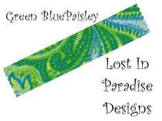 Peyote Bracelet Pattern - Green Blue Paisley Peyote Stitch Pattern (Buy 2 Get one free) - LoveItSoMuch.com