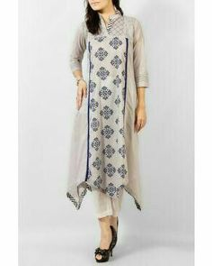 Obsession Grey Mix Cotton Kurta with Blue Ethnic Print Kurti Patterns, Dress Patterns, Indian Attire, Indian Wear, Pakistani Outfits, Indian Outfits, Kurta Style, Ethnic Print, Mode Hijab