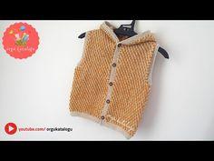#106 KOLAY KAPŞONLU BEBEK YELEK MODELİ / Örgü Modelleri / Knitting Pattern for Baby Sweater - YouTube Baby Knitting, Fashion Accessories, Crochet, Jackets, Youtube, Tops, Women, Crochet Hearts, Vest Coat