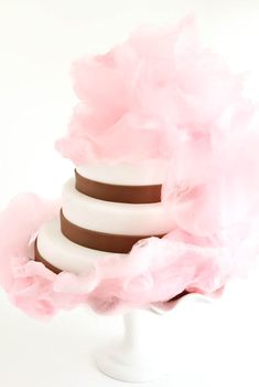 Pink Vanilla Cotton Candy Cake...spin your own or buy, add gold edible glitter