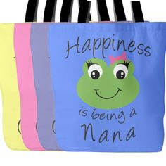 Happiness is being a Nana  Design printed on front and back 18 x 18 Tote Bag  100% spun polyester poplin fabric  1 inch wide cotton shoulder strap  Black fabric lined  Dry or Spot Clean Only  Four Colors to Choose From - White, Black, Pink or Blue  ***Color may differ slightly from image on screen. Alternate products may appear different hues depending on Fabric. Not all computer monitors and phone resolutions are made equal.