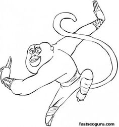 Printable Kung Fu Panda Master Monkey Coloring Pages