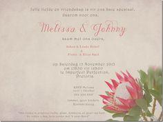 Protea inspired invitation Wedding Stationery, Wedding Invitations, Invites, Rustic Wedding, Our Wedding, Protea Wedding, Wedding Website, Corporate Events, Invitation Design