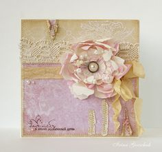 Shabby card - Scrapbook.com - I just love all the stitching detail.. Would love to try this technique