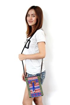 Genuine Leather Cross Body Bag with Vintage Fabric. #ethniclanna