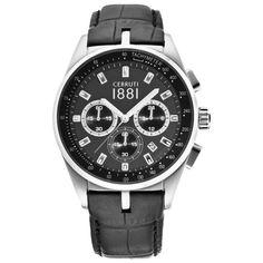 Wirstwatch CERRUTI Man Watch CRA089A222G Chronograph Tachymeter Black Dial&Stap