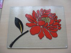 Hand Painted Large Red Flower 400mm x 300mm Glass Worktop Saver