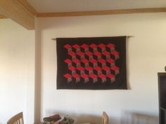 """My first wallhanging!! """"For the Horde"""" World of Warcraft tumbler quilt. English paperpieced by hand and appliqued to the background."""