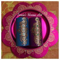 Hand crafts -- Mehndi unique decor idea, henna candle henna plate