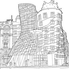 Stunning New Coloring Book Shines a Light on Global Architecture - Curbed Colouring Pages, Adult Coloring Pages, Coloring Books, Colour Architecture, Facade Architecture, Signage Design, Typography Design, Steve Mcdonald, Mall Facade
