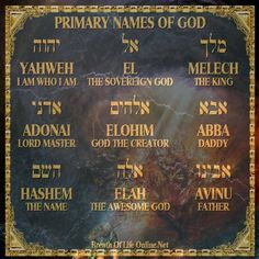 Primary Names of God All Names, Names Of God, Adonai Elohim, Hebrew Names, Free Bible Study, Learn Hebrew, Thy Word, Daughters Of The King, Scripture Art