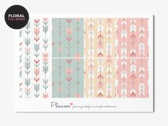 Patterned Full Boxes - Planner Stickers for Erin Condren Vertical Planner. This kit contains 8 full boxes for your planner. These planner stickers have a perman