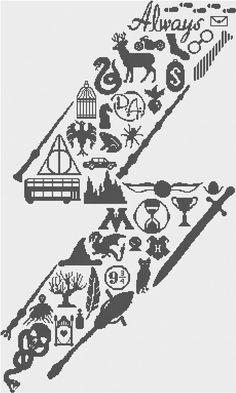 Harry Potter Scar: Icon Art PDF Cross Stitch by FeltLikeStitching