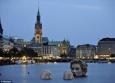 """""""Lady of the Lake"""" sculpture (intended to look like a bather), Hamburg, Germany"""