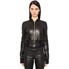 Rick Owens Women Cropped Leather Bomber Jacket ($2,315) ❤ liked on Polyvore featuring outerwear, jackets, black, genuine leather jacket, 100 leather jacket, real leather bomber jacket, rick owens and cropped bomber jacket