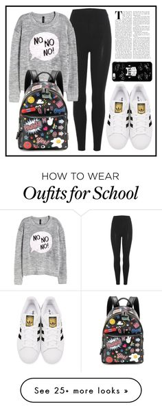 """School Day."" by af1nda on Polyvore featuring adidas Originals, H&M and Anya Hindmarch"