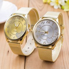 Women's watche Ladies Watch Gold Mesh Band  Stainless Steel Quartz Wristwatch Casual quartz watch Silver Heart Lady watch clock  #Affiliate