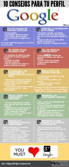 10 consejos para tu perfil de Google + #infografia #infographic #socialmedia