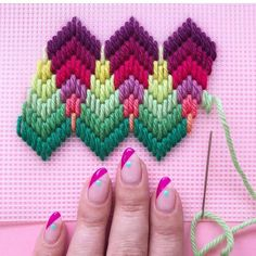 Ribbon Embroidery Flowers by Hand - Embroidery Patterns Bargello Needlepoint, Broderie Bargello, Bargello Patterns, Needlepoint Patterns, Hardanger Embroidery, Silk Ribbon Embroidery, Embroidery Art, Cross Stitch Embroidery, Embroidery Patterns