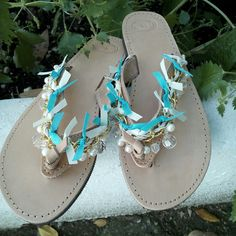 with turquoise ribbons